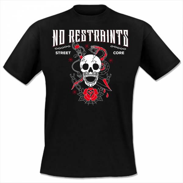No Restraints - Skull, T-Shirt schwarz