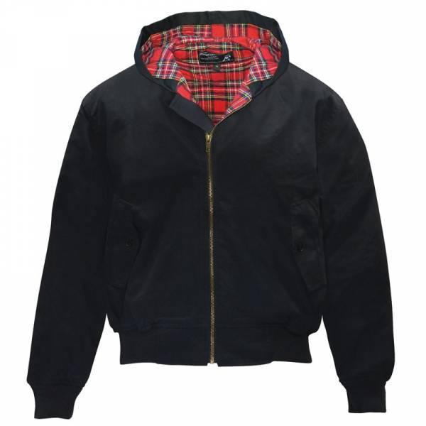 Harrington Jacke mit Kapuze, schwarz