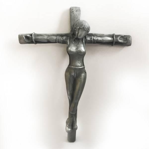 Crucified Skingirl - Gipsfigur silber/metall