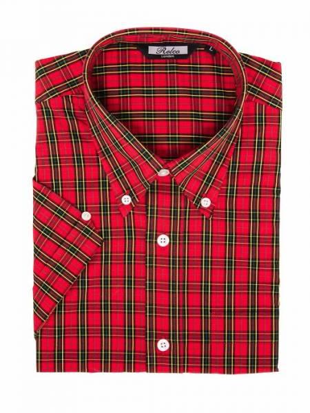 RELCO Clothing - Button Down Kurzärmel-Shirt Classic Red Tartan, verschiedene Größen