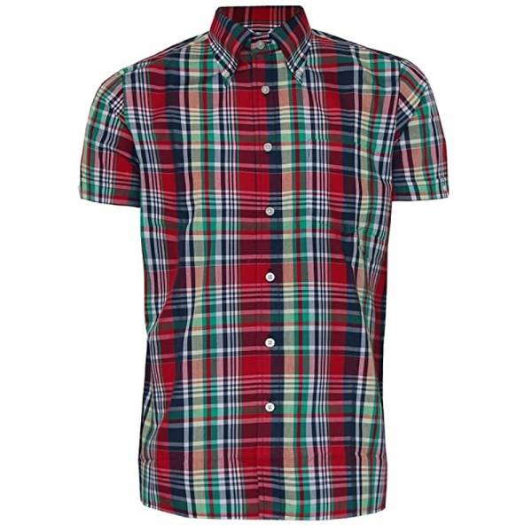 Brutus - Red Madras Check, Button Down Hemd Kurzarm, Great-Fit