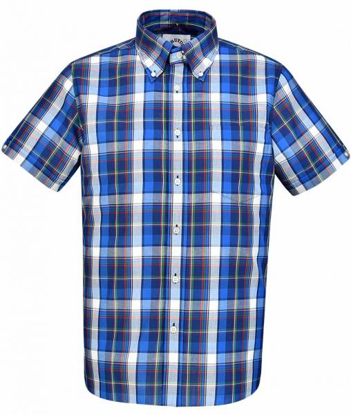 Brutus - Blue Window Pane Check, Button Down Hemd Kurzarm, Great-Fit