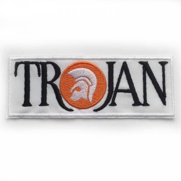 Trojan - Logo weiss, Aufnäher eckig