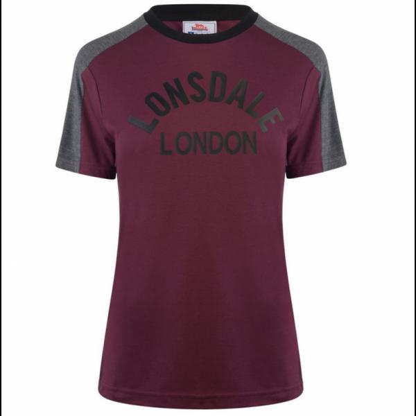 Lonsdale - Long Line Crew, Girly-Shirt BURGUNDY