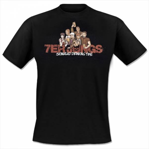 7er Jungs - Skinhead Drinking Time, T-Shirt schwarz