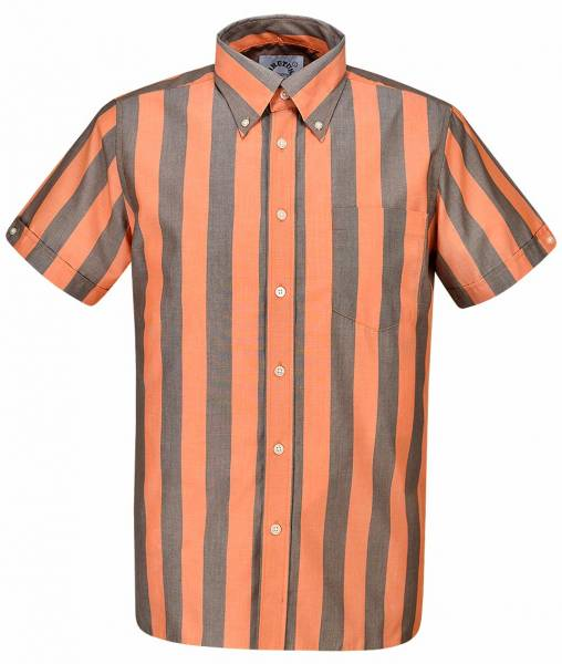 Brutus - Orange/Cocoa Brown, Button Down Hemd Kurzarm, Trim-Fit