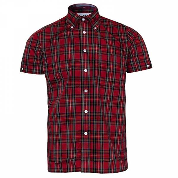 Brutus - Classic Red Tartan, Button Down Hemd Kurzarm, Great-Fit