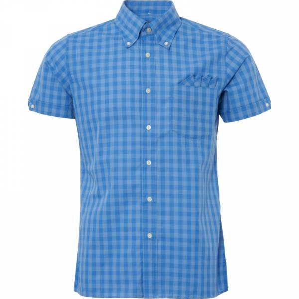 Brutus - Palace Blue Check, Button Down Hemd Kurzarm, Great-Fit