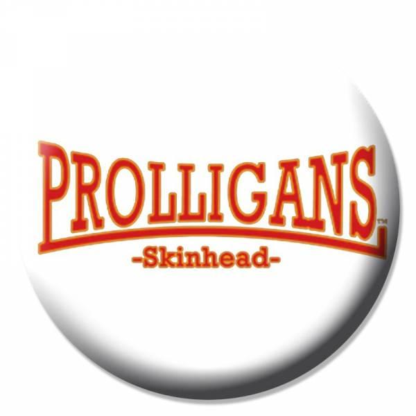 Prolligans - Logo gebogen weiss, Button B089