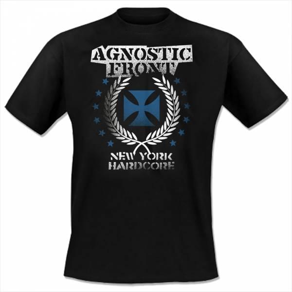 Agnostic Front - Blue Iron Cross, T-Shirt schwarz