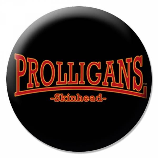 Prolligans - Logo gebogen schwarz, Button B088