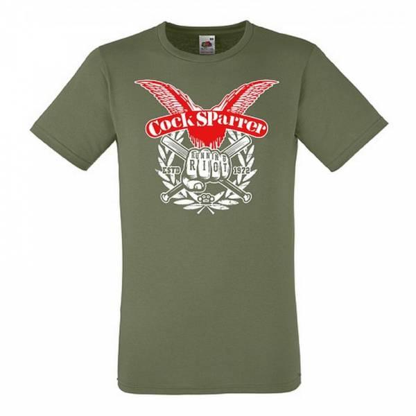 Cock Sparrer - Running Riot, T-Shirt oliv