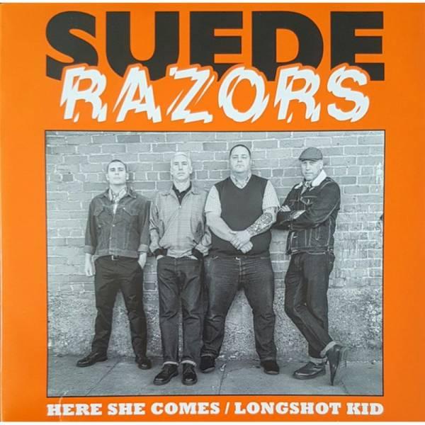 Suede Razors - Here she comes / Longshot Kid, 7'' lim. verschiedene Farben, beschädigt/ damaged