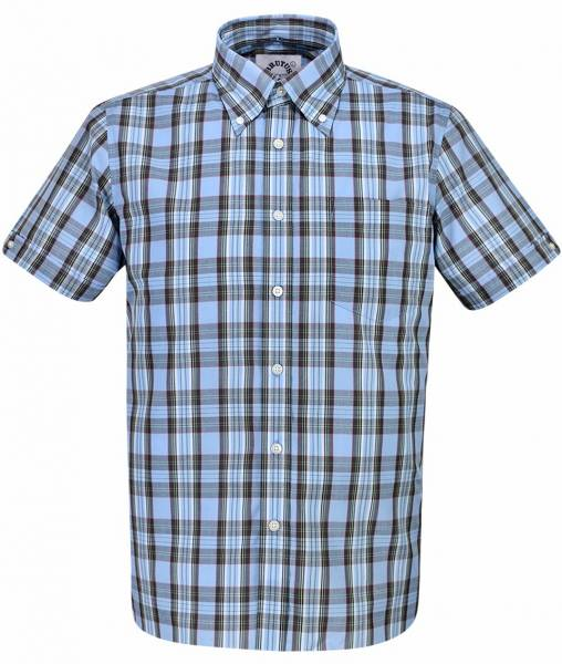 Brutus - Classic Blue Tartan, Button Down Hemd Kurzarm, Great-Fit