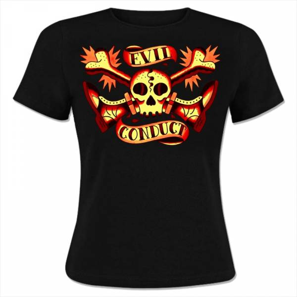 Evil Conduct - Skull & Bones, Girlie-Shirt schwarz