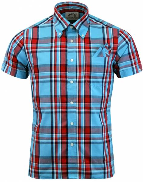 Brutus - Heritage Light Blue/Red, Button Down Hemd Kurzarm, Great-Fit