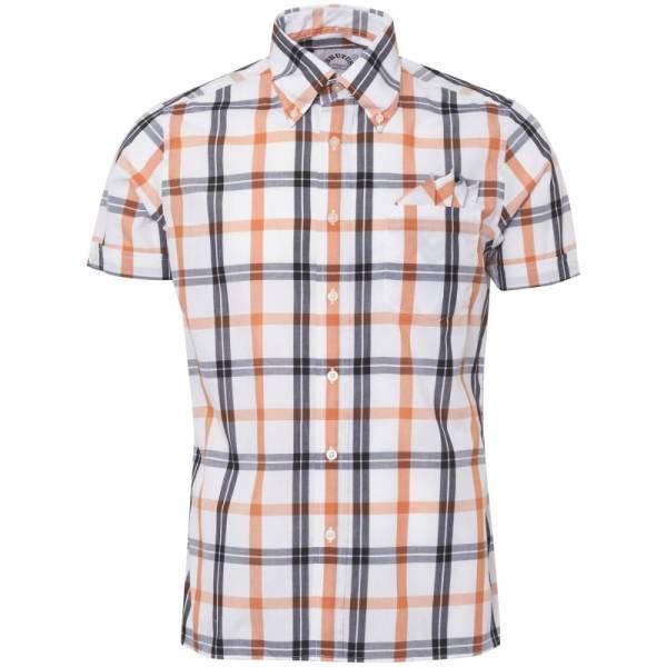 Brutus - White/Orange Check, Button Down Hemd Kurzarm, Trim-Fit