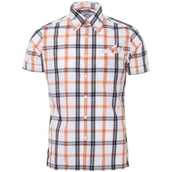 Brutus - White/Orange Check, Girl Button Down Hemd Kurzarm, Trim-Fit