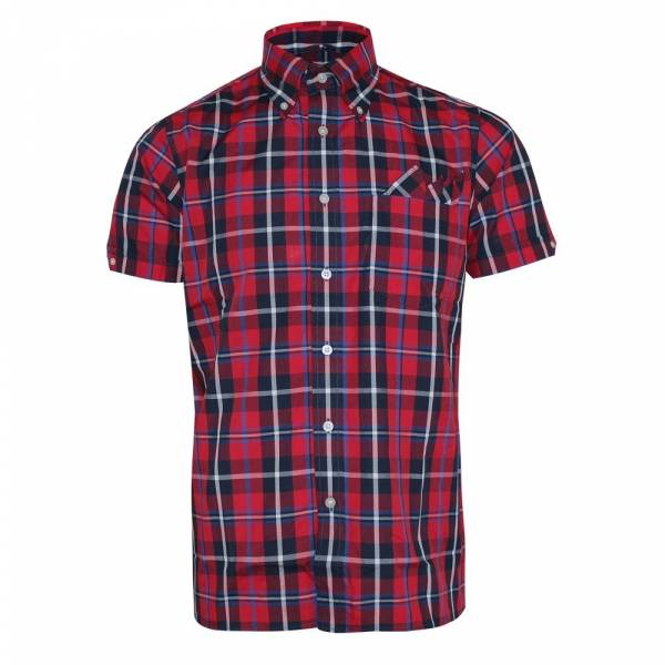 Brutus - Red Window Pane Check, Button Down Hemd Kurzarm, Great-Fit