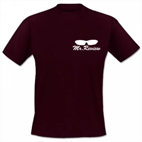 Mr. Review - Logo, T-Shirt bordeaux rot