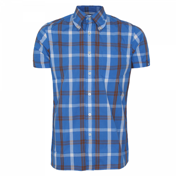 Brutus - Palace Blue/Cocoa Brown Check, Button Down Hemd Kurzarm, Trim-Fit