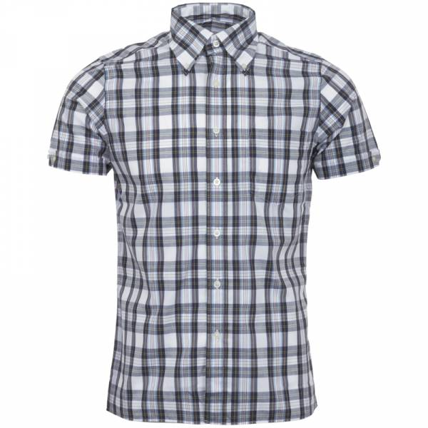 Brutus - Classic White Tartan, Button Down Hemd Kurzarm, Trim-Fit